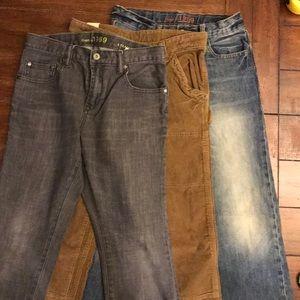 GAP Jeans - 3 pair (grey, blue & Brown cords)
